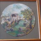 Marvelous miniature round oil on canvas painting