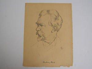 Russian portrait - unidentified artist - marvelous drawing on paper 1926