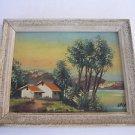 Vintage marvelous miniature oil on cardboard painting