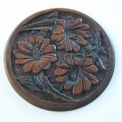 1908 marvelous hand carved art wood floral plate - Signed and Dated