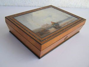 Vintage unusual wooden box with Gouache painting on the front