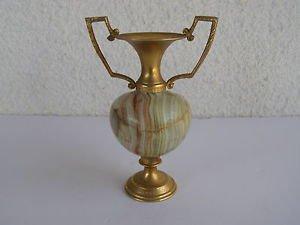 Spectacular Vintage Hand Carved Alabaster Stone & Brass Vase