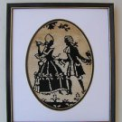 Rare Vintage Marvelous Black Silhouette Embroidered Needlepoint Framed Picture