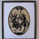 Marvelous Vintage Black Silhouette Embroidered Needlepoint Framed Picture