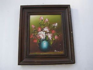 Spectacular floral oil on canvas painting