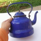 Vintage Marvelous Enamel Unusual Blue Teapot Kettle