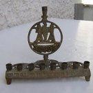 Vintage Marvelous Israel Jewish Judaica, Brass Hanukkah Lamp Menorah