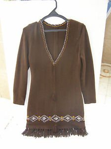 Vintage Marvelous Brown Folk Mexican Dress