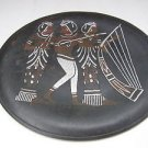 Rare Vintage Egyptian Silver & Copper Inlaid in Brass Hammered Plate