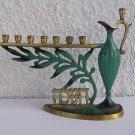 כד שמן ועלי הזית Vintage Israel Jewish Judaica, Brass Hanukkah Lamp Menorah