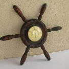 Vintage Marvelous SHIP WHEEL Hand Carved Wooden Thermometer Precision