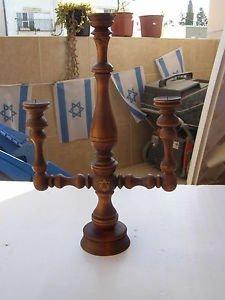 Vintage Marvelous Israel Jewish Judaica, Huge Wooden Shabbat Candlestick