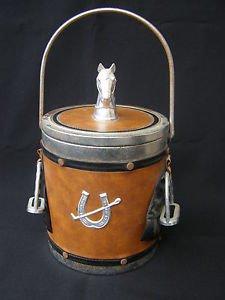Vintage metal, plastic & leather stunning Ice Bucket