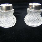 Marvelous Vintage Miniature Pair Clear Glass Salt & Pepper Shakers