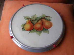 Vintage Hand Painted Pears Russian Cake Plate/Stand