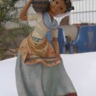 Spectacular woman/girl hand crafted chalkware colorful figurine