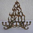 נס גדול היה פה Vintage Israel Jewish Judaica Brass Hanukkah Lamp Menorah