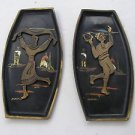 Pair Vintage Marvelous Israel Jewish Judaica, Israeliana Brass Dancer Plates