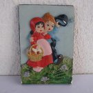Nursery vintage marvelous painted chalkware wall sculpture art plaque