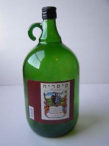 Israel Caesarea 2 Liter Decorative Green Glass Wine Bottle