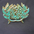 GOD BLESS OUR HOME, Vintage Israel Jewish Judaica Brass Napkin Holder