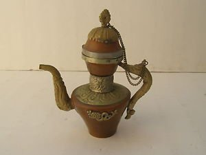 Vintage Marvelous Colorful Copper Tea Pot Kettle