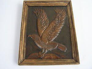 Vintage 1981 Hand Made Brass Hammered EAGLE Wall Hanging Relief Painting