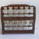 Marvelous vintage complete set of 12 glass spice jars bottles with orig stand