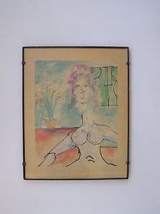 Marvelous unidentified artist, nude watercolor on paper painting