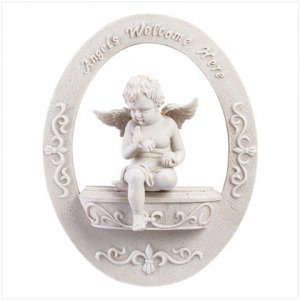 """""""Angels Welcome Here"""" Wall Plaque"""