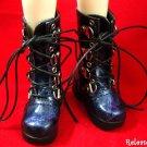 Super Dollfie SD Shoes Goth Leather Boots Dark Blue