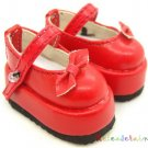 Dollfie Yo-SD Mary Jane Leather Strap Bow Shoes Red