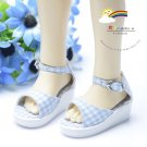 Pale Blue Checker Wedge Shoes Sandals for MSD Dollfie