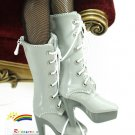 "Releaserain Doll Shoes Lace-Up Boots Patent Grey FIT 16"" Fashion Dolls"