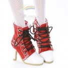 "Releaserain Doll Shoes Ankle Sneakers Boots Red FIT 16"" Fashion Dolls"
