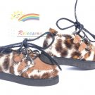 "Releaserain Doll Shoes Goth Velvet Creepers Brown Leopard for 17""Matt 14""Kish"