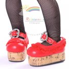 "Mary Jane Ruffle Heart Lolita Platform Shoes Red for Yo-SD Dollfie/12"" Kish doll"