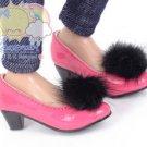 """Black Mink Fluffy Pt Rose Pumps MSD BJD Dollfie Shoes for Unoa/14"""" Kish/Minifee"""