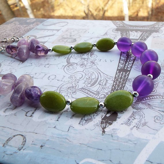 Beaded Lush Green Amethyst Necklace