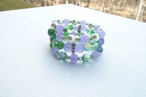 Everlasting, Lavender Jade Lush Green Czech Glass Bracelet