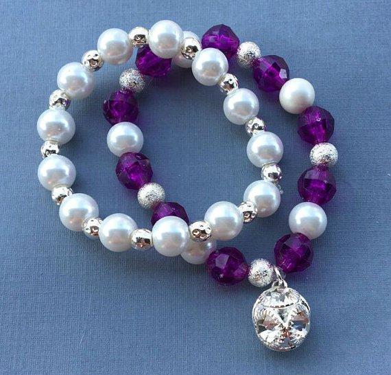Beaded Berry Bracelet Set, Charm Bracelet, Pearl Bracelet