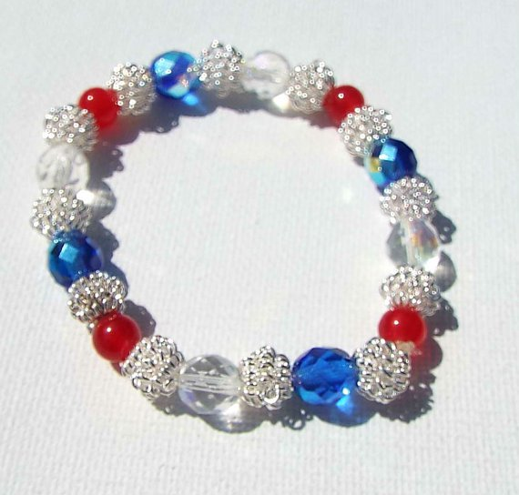 Red, Blue, Beaded Rustic 4th of July Bracelet, Independence Day USA