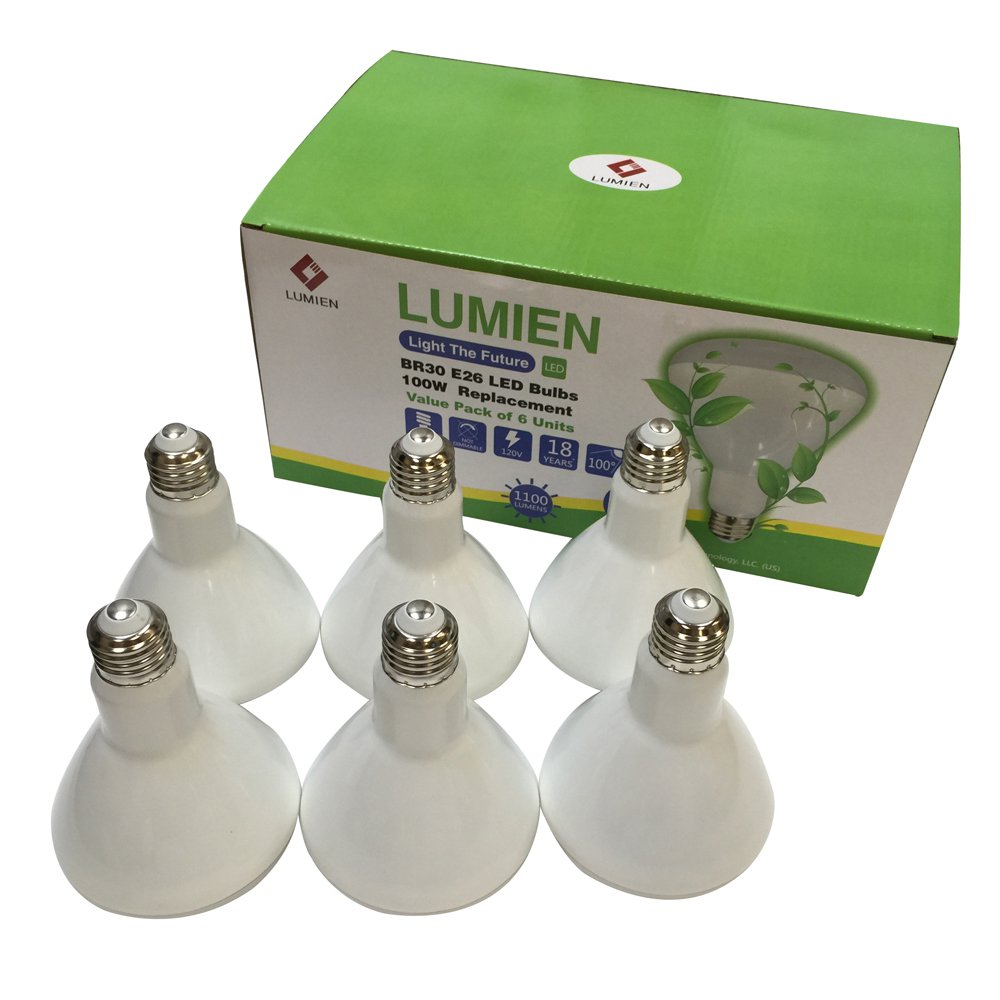 Lumien BR30 LED Bulb, 12W (100W Equivalent), 2700K, 1100 Lumen, 6-Pack