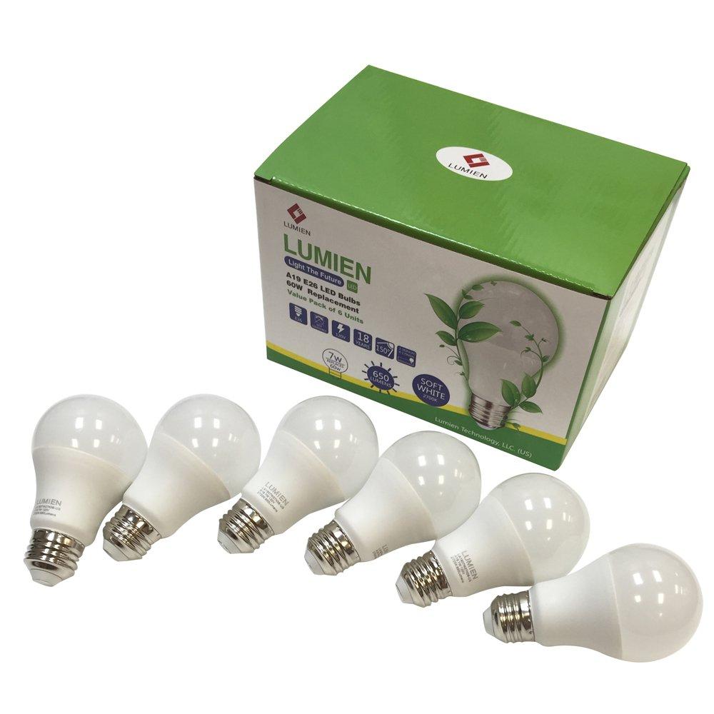 Lumien LED A19 Bulb, 7W (60 Watt Equivalent), 2700K, 650 Lumens, 6-Pack