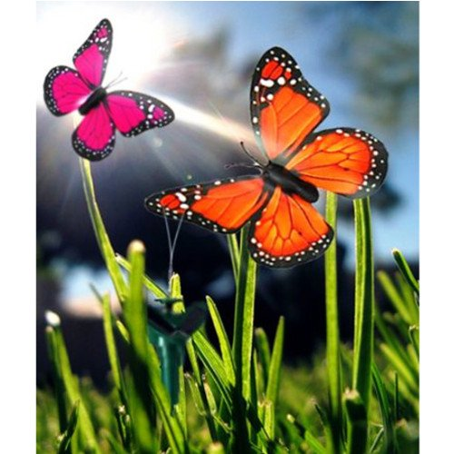 HQRP 2 Solar Powered Flying Fluttering Butterflies Orange&Pink for Garden Plants