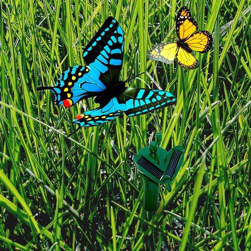 HQRP 2 Solar Powered Flying Fluttering Butterflies Yellow Blue for Garden Plants