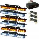 HQRP 54-LED White Amber Emergency Warning Strobe Lights 6 Bars Deck Dash Grille