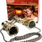 HQRP Opera Theatre Glass Optics Lens Binoculars Gold / Silver with Chain