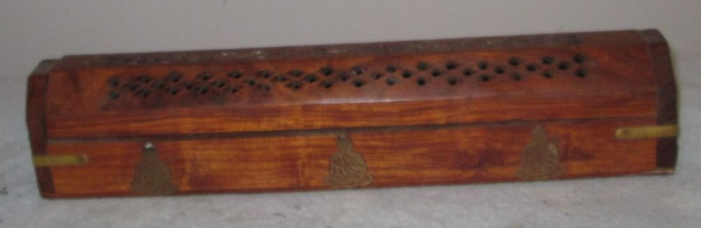 WOODEN INCENSE COFFIN STICK CONE BURNER HAND MADE INDIA