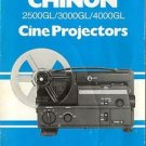 CHINON 2500GL/3000GL/4000GL PROJECTOR MANUAL IN COLOR WITH WARRANTY CARD
